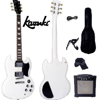 Kazuki KSG Series กีต้าร์ไฟฟ้า สีขาว กระเป๋า+แอมป์ pack set