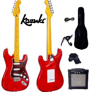 กีต้าร์ไฟฟ้า Kazuki Metalic Vibe Strat สี Firenza Red กระเป๋า+แอมป์ pack set