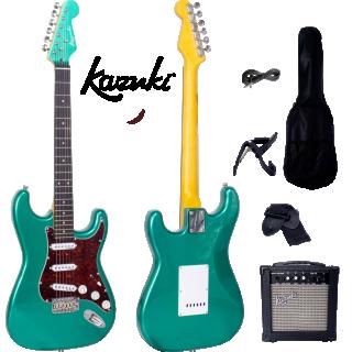 กีต้าร์ไฟฟ้า Kazuki Metalic Vibe Strat สี Flashing Green กระเป๋า+แอมป์ pack set