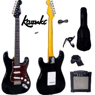 กีต้าร์ไฟฟ้า Kazuki Metalic Vibe Strat สี Flashing Black กระเป๋า+แอมป์ pack set